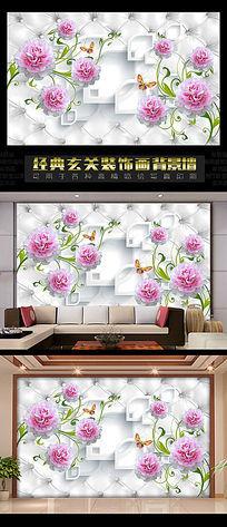 粉色玫瑰软包3D背景墙
