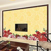 牡丹花纹电视背景墙