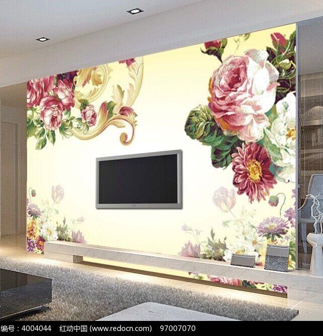欧式花朵电视背景墙图片