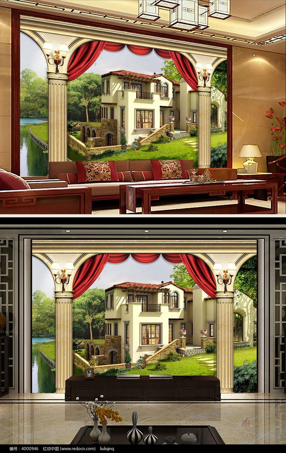 欧式建筑室内装饰画