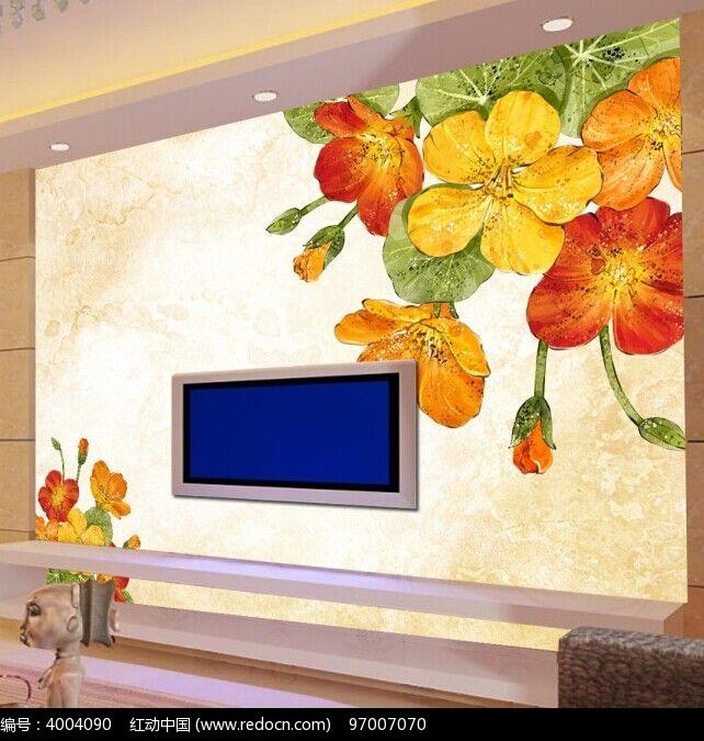 手绘花朵电视背景墙图片