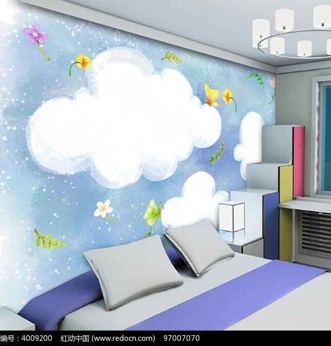 彩绘云朵卡通房间背景墙