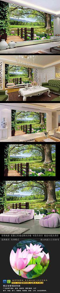 高清3D大树风景背景墙