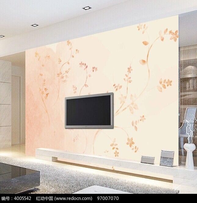 欧式清新花纹电视背景墙