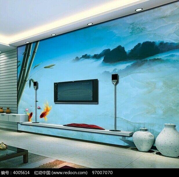 山水大理石电视背景墙图片