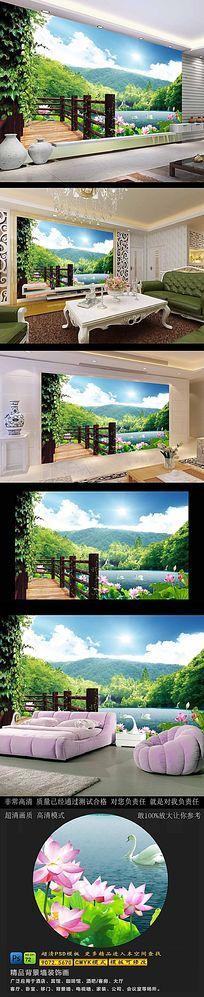 山水画风景电视背景墙
