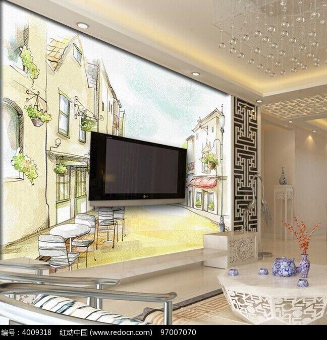 手绘街道电视背景墙图片