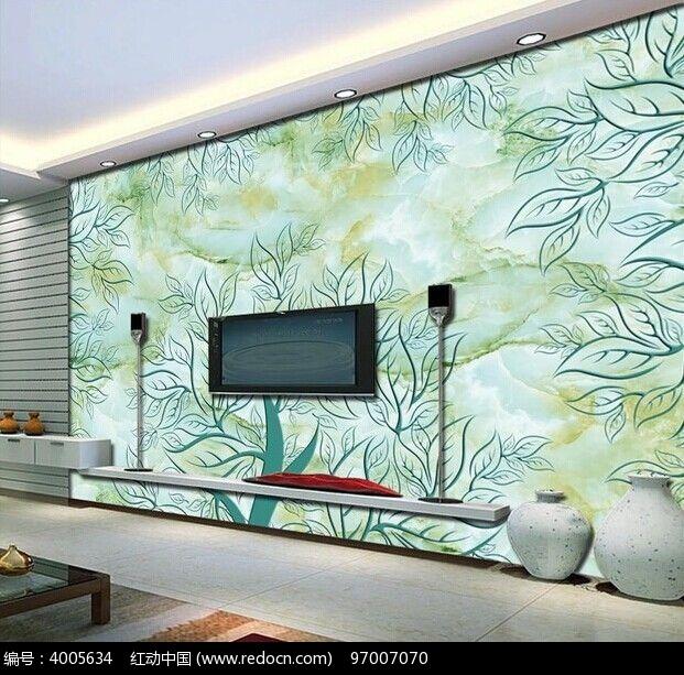 玉石树木大理石电视背景墙