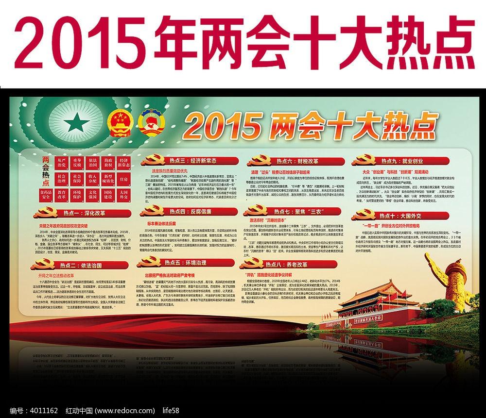 2015全国两会十大热点解读展板设计