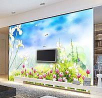 彩绘花草电视背景墙