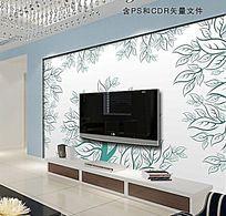 发财树浮雕电视背景墙