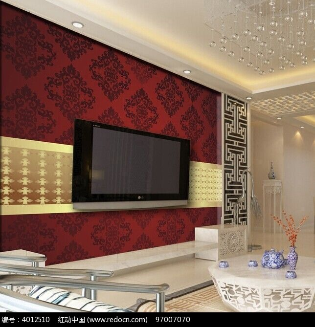 红色欧式花纹电视背景墙