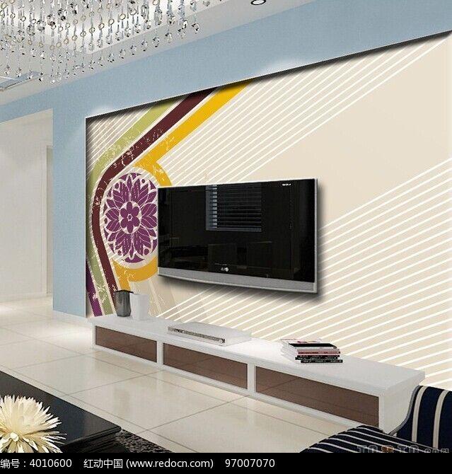 花朵线条电视背景墙