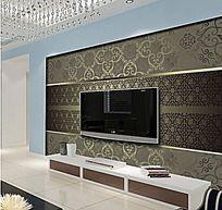 华贵欧式花纹电视背景墙