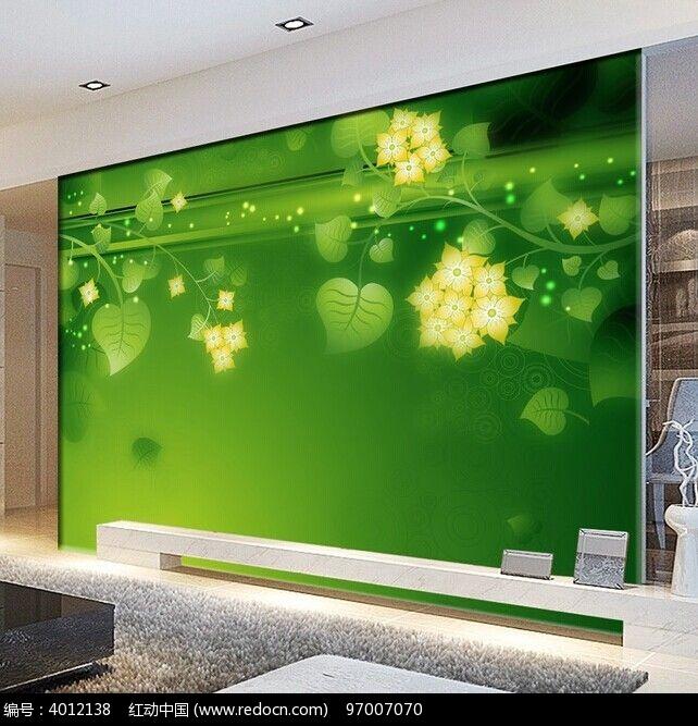 环保护眼树叶沙发背景墙