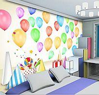 卡通气球儿童卧室背景墙