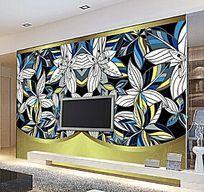 蓝色花朵欧式电视背景墙