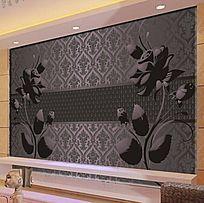 玫瑰花纹电视背景墙