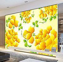 暖色矢量花朵电视背景墙