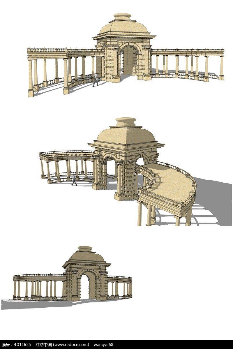 欧式穹顶廊架花架su模型