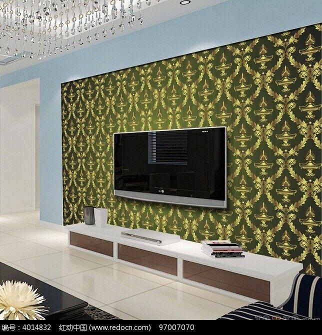 欧式皇冠花纹电视背景墙