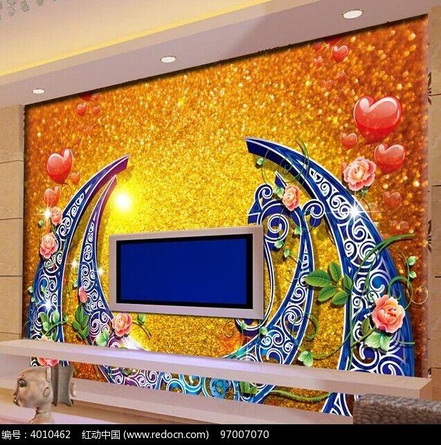 欧式花纹室内背景墙