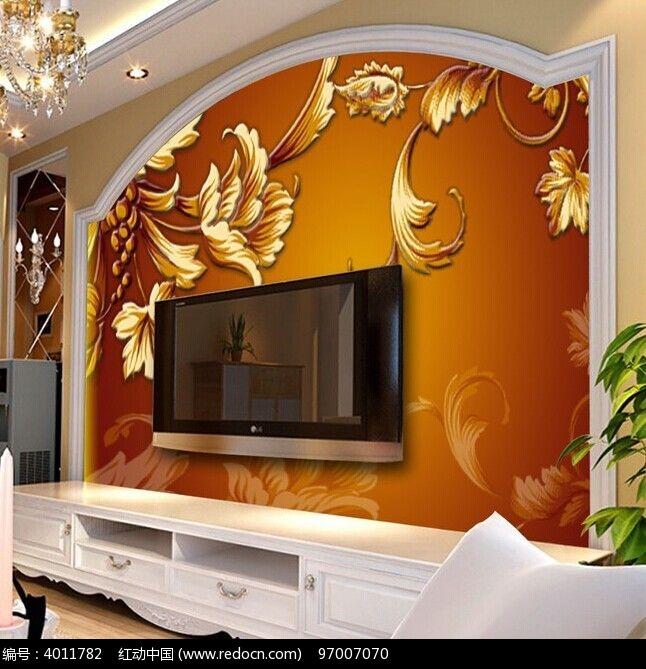 欧式金色花纹电视背景墙