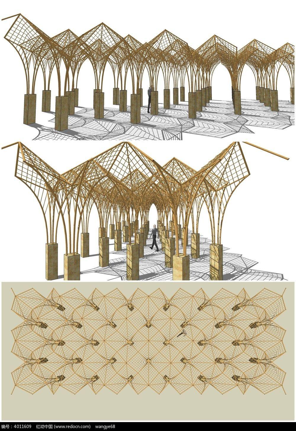 欧式现代廊架花架su模型图片