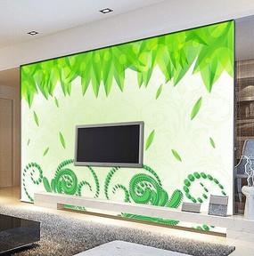 矢量树叶花纹沙发背景墙