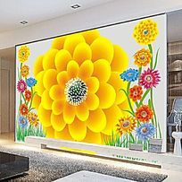 矢量太阳花朵电视背景墙