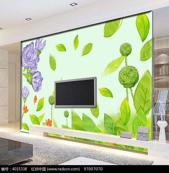 手绘花朵客厅电视背景墙