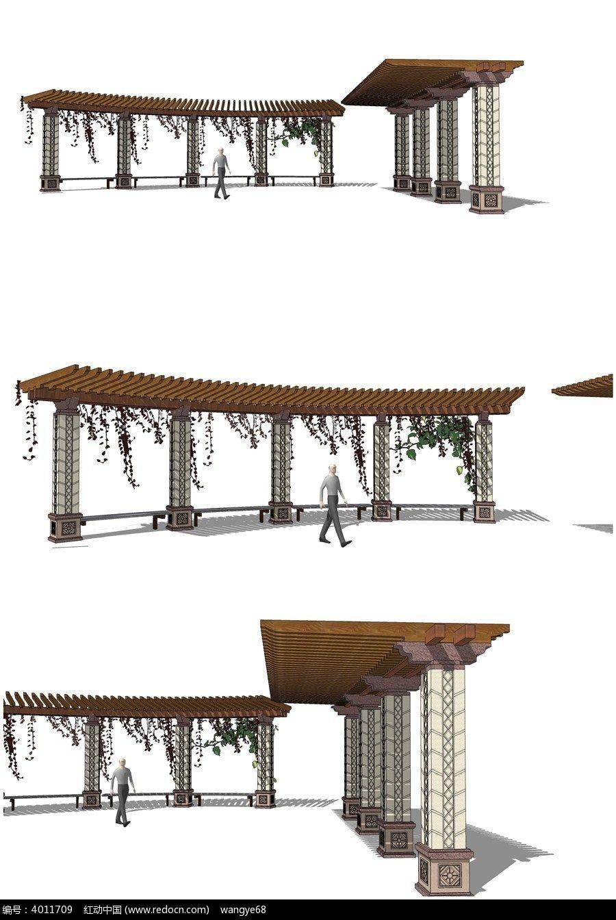 现代欧式廊架su模型图片