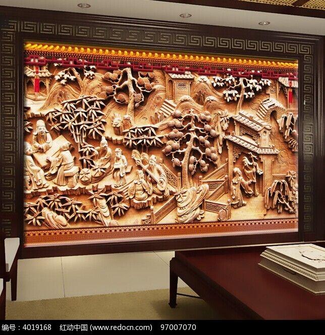 古风木雕庄园书房背景墙