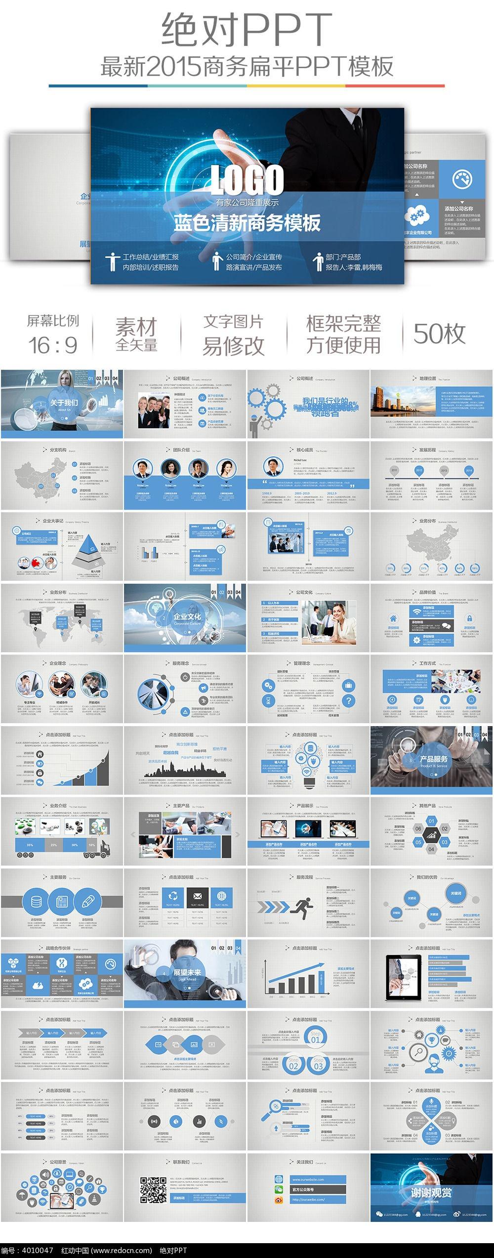蓝色科技企业产品发布ppt模板