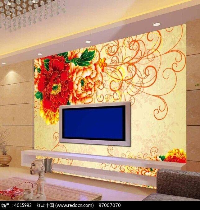 欧式花纹牡丹电视背景墙