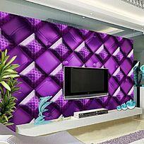 紫色立体方块软包背景墙