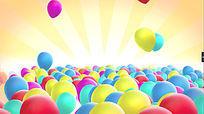 彩色气球飘扬动态视频