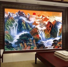 中国风国画电视背景墙 PSD