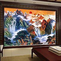 中国风国画电视背景墙