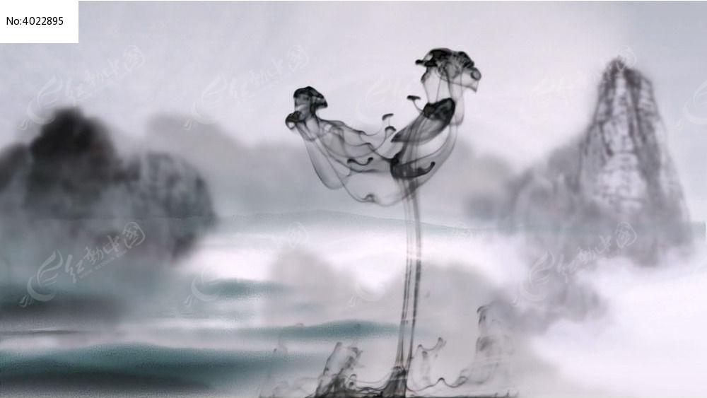 中国风烟雾视频LED素材视频v烟雾水墨荷兹图片