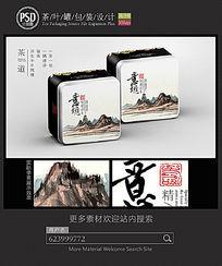 水墨画茶叶铁罐包装设计