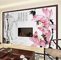古典中国风荷花诗词背景墙