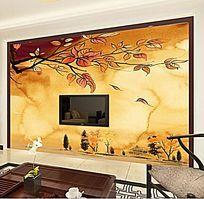 秋风落叶复古电视背景墙