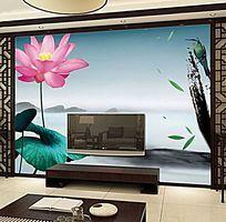 水墨风景荷花电视背景墙