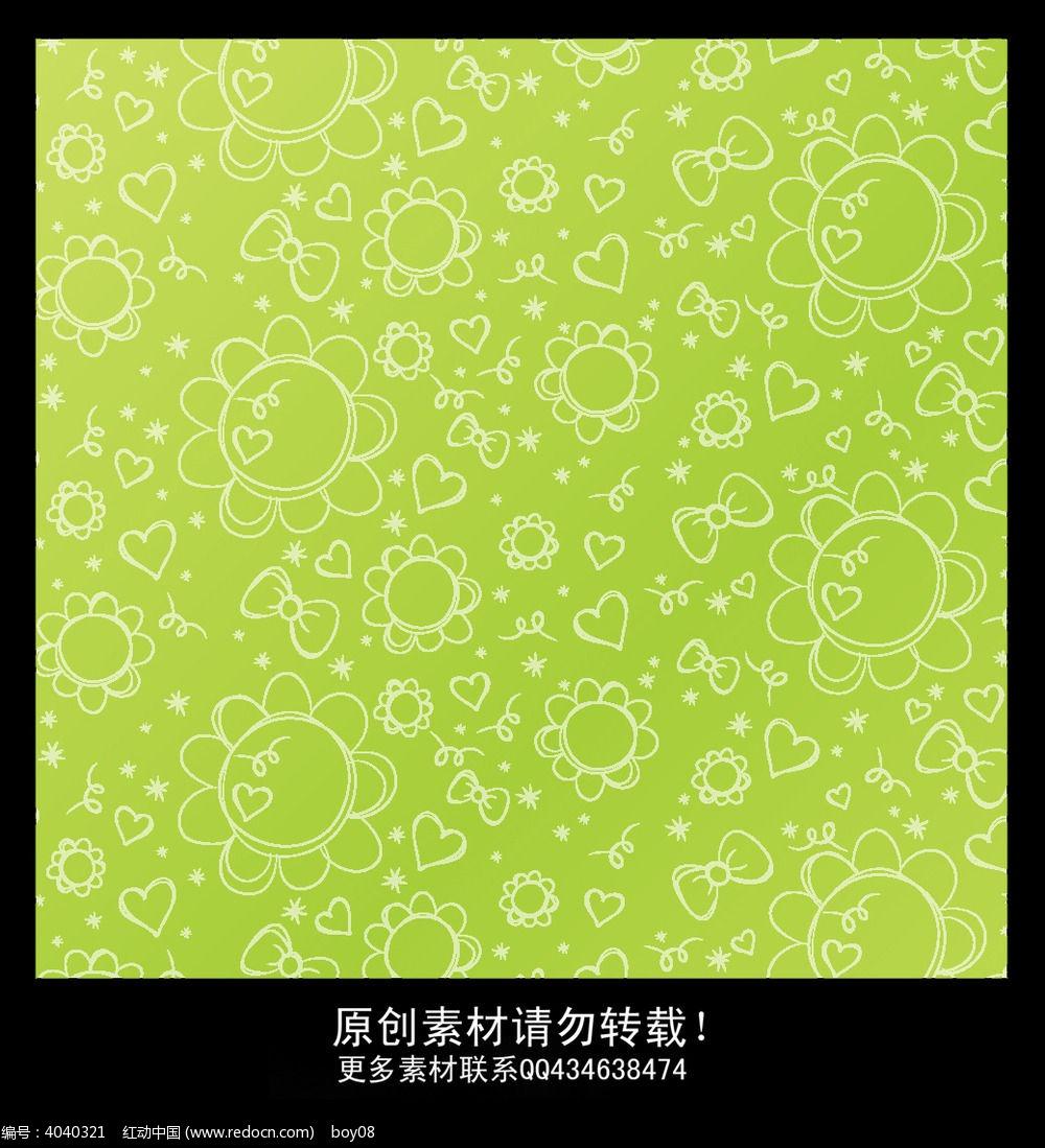 春天可爱手绘花纹墙纸设计psd素材下载_墙纸设计图片