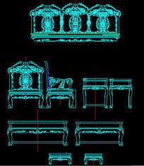 清式沙发九件套CAD生产图 dwg