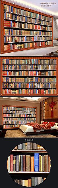 图书室书架房间背景墙