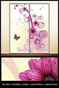 温馨花纹蝴蝶移门图案