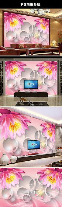 3D立体梦幻花朵背景墙装饰画