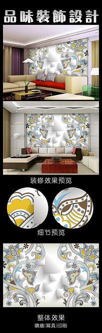 3D欧式花纹背景墙设计